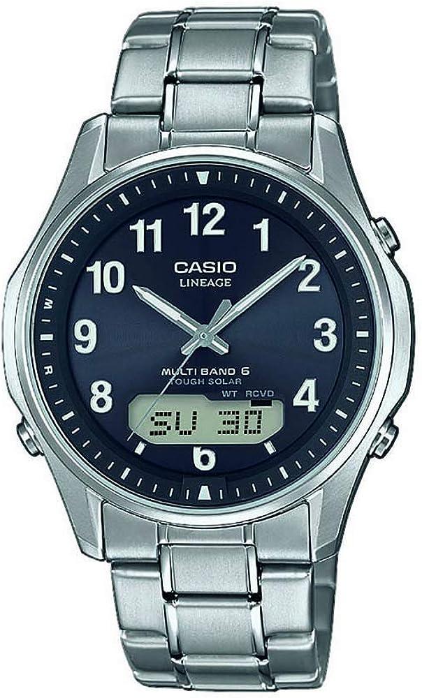 Casio WAVE CEPTOR Reloj Radiocontrolado y solar, Cristal de zafiro, Caja de titanio macizo, Negro/Azul, para Hombre, con Correa de Titanio macizo, LCW-M100TSE-1A2ER: Amazon.es: Relojes