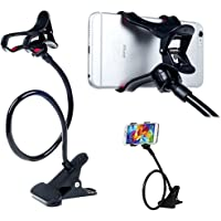 KI Store Gooseneck Phone Stand iPhone Mobile Stand Holder for Bed Flexible Long Arms Clip Clamp Universal Bracket (Black)