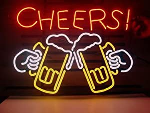 "Cheers Beer Real Glass Neon Light Sign Home Beer Bar Pub Recreation Room Game Room Windows Garage Wall Store Sign (17""x14"" Large)"