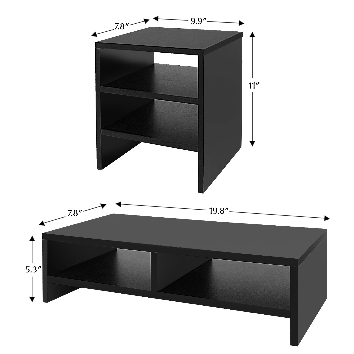 Jerry & Maggie - Wood Monitor Stand - 2 Parts Combination - Modern Dresser Shelf Unit Storage Desk Organizer Computer Stand Shelving - 2 Parts Multi Function Grayish Black Shelving