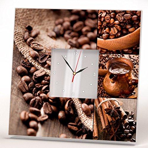 Granos Café Amantes Reloj Pared Enmarcado Espejo Impreso Arte Diseño Cocina Barra Inicio Regalo Idea