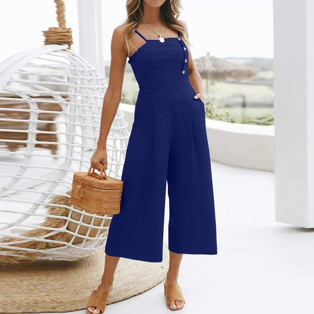 GWshop Ladies Fashion Elegant Jumpsuit Women Jumpsuits Elegant Wide Leg Sleeveless High Waisted Summer Pants Blue L by GWshop (Image #1)