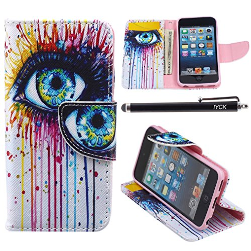 iPod Touch 5 Case, i Touch 6 Case Wallet, iYCK Premium PU Leather Flip Carrying Magnetic Closure Protective Shell Wallet Case Cover for iPod Touch 5/6 with Kickstand Stand - Colorful Eye]()