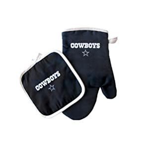 LA Auto Gear Oven Mitt and Potholder Set - NFL - Dallas Cowboys - NFL Team Logo Home Kitchen Indoor Outdoor BBQ Picnic