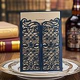 Dark Blue Laser Cut Hollow Gate Wedding Invitations Elegant Party Banquet Decoration Invite Cards CW5102 (100)