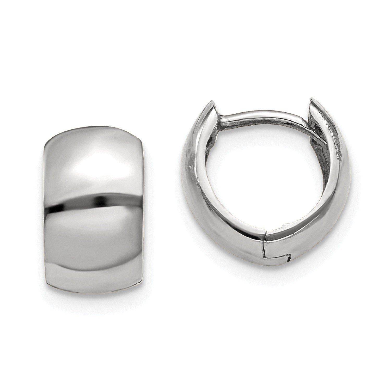Roy Rose Jewelry 14K White Gold Hinged Hoop Earrings ~ 6mm width