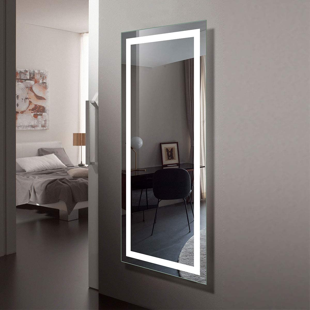 Large 70 x32 LED Full Length Backlit Mirror- Antifog Oversized Rectangle Dressing Illuminated Mirror with Infrared Sensor, Wall-mounted Full Size Wall Frameless Mirror with LED lights CK010-7032-GS