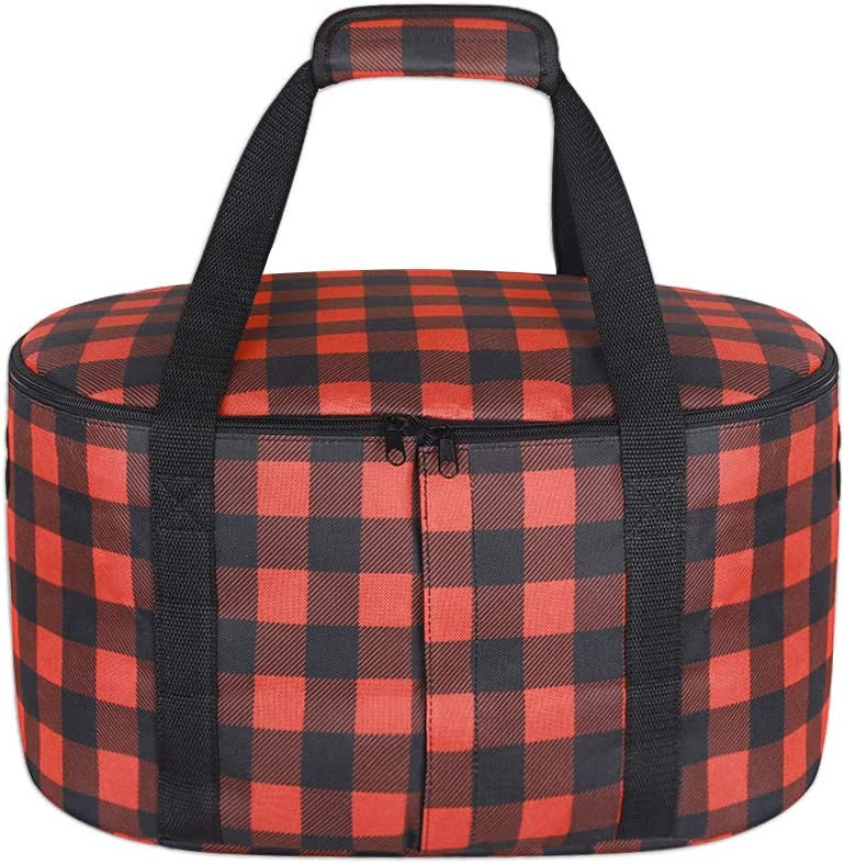 Slow Cooker Carrier, Crock Pot Travel Case, Multifunctional Oval Crock Pot Tote Bag, Black and Red Check Print, Carry Case Compatible with Crock Pot 4-8 Quart