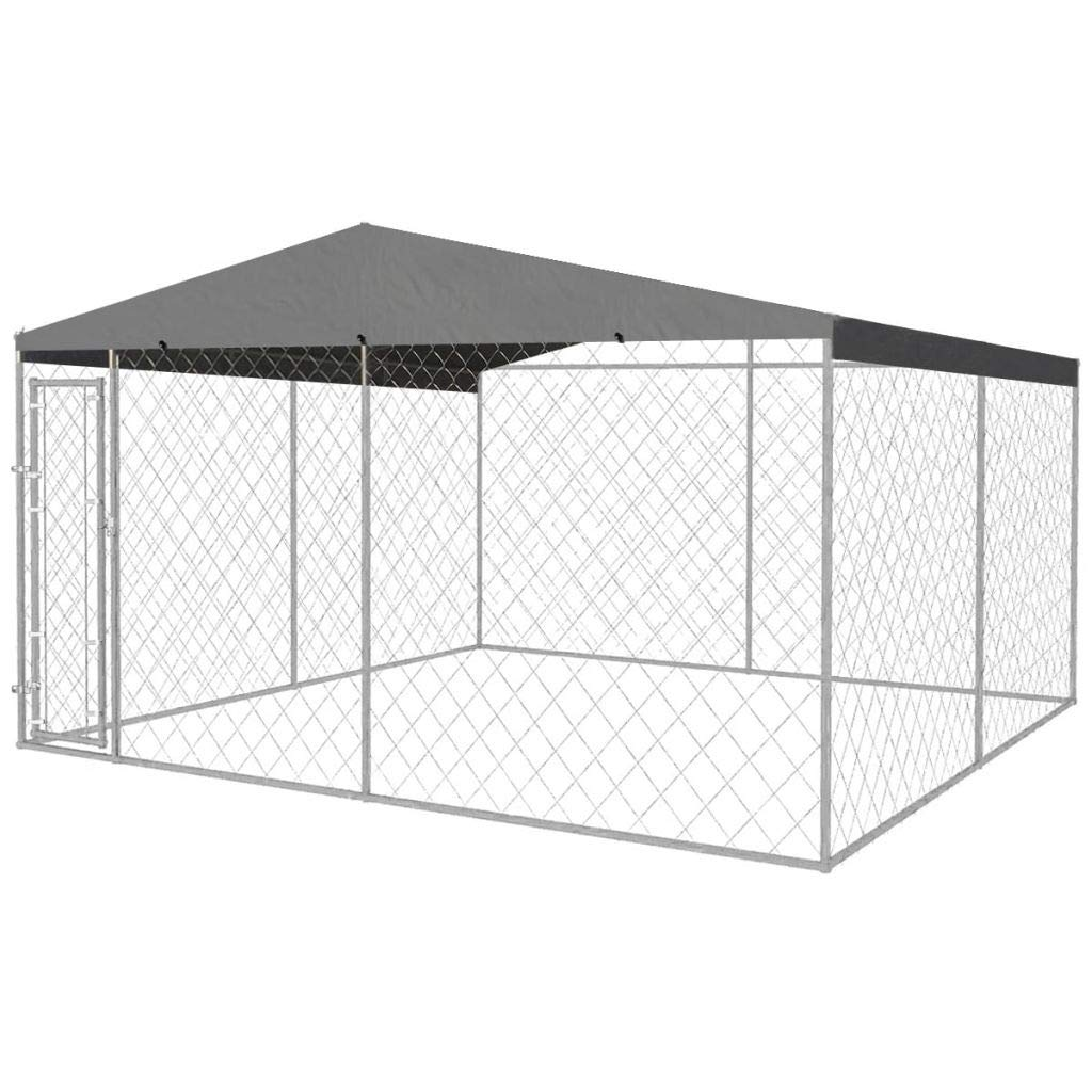 382 x 382 x 235 cm (L x W x H) vidaXL Outdoor Dog Kennel with Roof 4x4m Puppy Pet Enclosure Playpen House