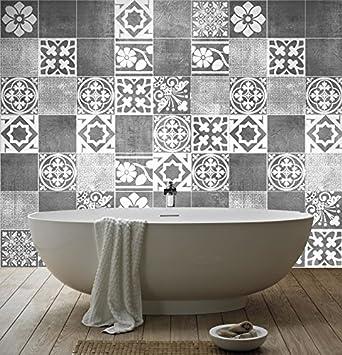 Sticker art carrelage d co deluxe pour salle de bain pack avec 56
