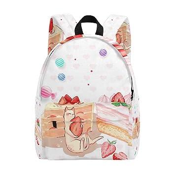 Mochila Escolar con diseño de Gato de Fresa para Tarta: Amazon.es ...