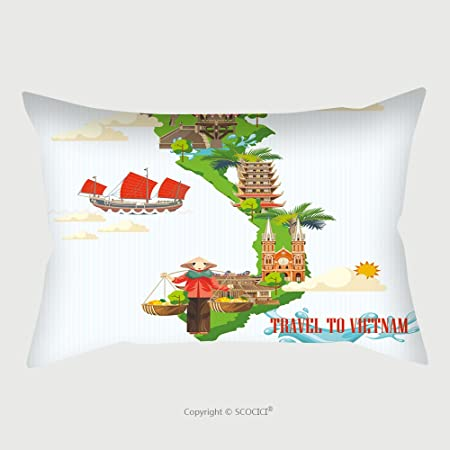 Custom Cotton Linen Pillowcase Protector Travel To Vietnam Set Of