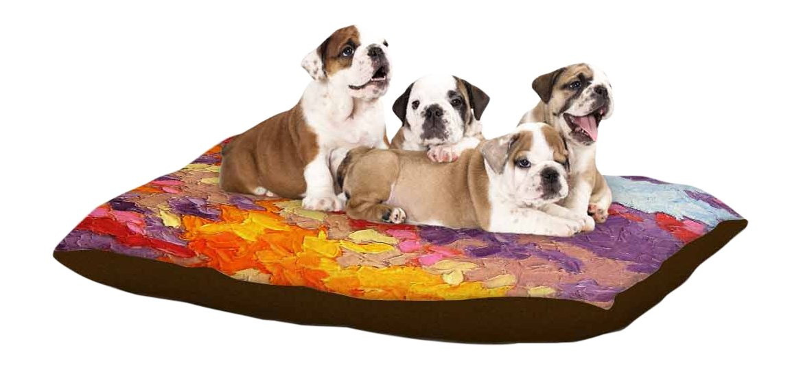 Kess InHouse Jeff Ferst Sonoran Fantasy  Red Abstract Fleece Dog Bed, 30 by 40