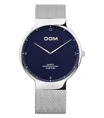 Hombre Relojes de pulsera Reloj de cuarzo analógico a prueba de agua clásico delgado Ø40mm con banda de malla: Amazon.es: Relojes