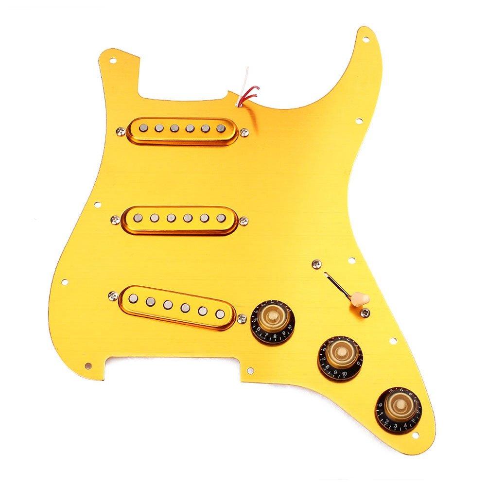 Healifty ピックガード 3プライ SSS搭載 ピックガード プリワイヤ式 ロードされたピックガード 3つのアルニコVピックアップセット 11ホールエレクトリック ギター用 ギターアクセサリー(イエロー) B07F646XSN