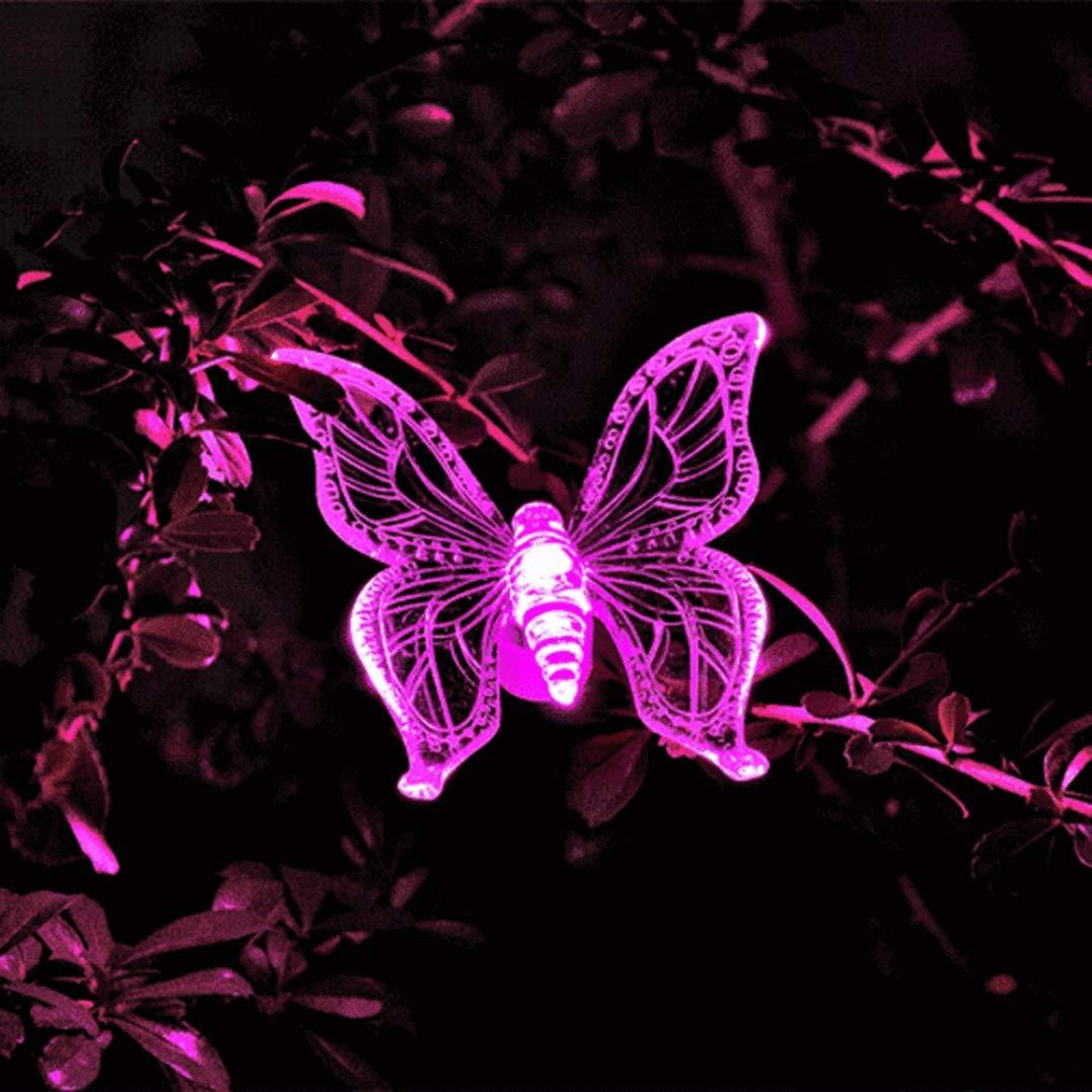 YRD TECH Solar Butterfly Light-Color-Changing LED Garden Solar Light Outdoor Waterproof Dragonfly/Butterfly/Bird LED Garden Decoration Path Lawn Lamp (A)