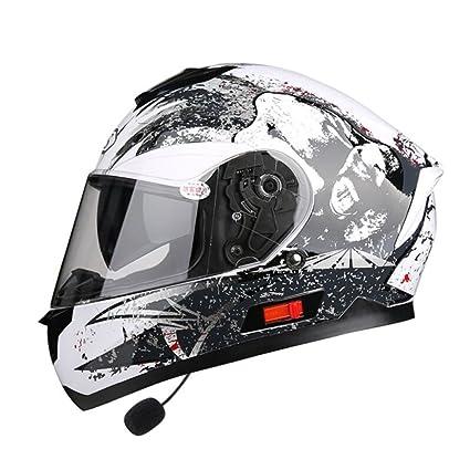 ZXCB Motocicleta De Las Mujeres De Los Hombres Con Casco Bluetooth Casco Completo De La Cara