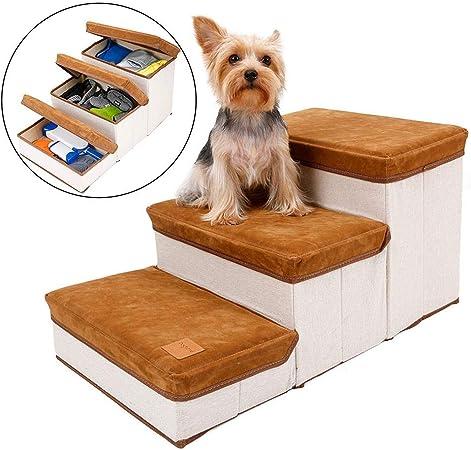 Yongirl - Escalera plegable para mascotas, escaleras, 3 escaleras, estilo de almacenamiento, para mascotas, para perros y cachorros: Amazon.es: Productos para mascotas