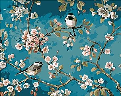 Fuumuui Lienzo de Bricolaje Regalo de Pintura al óleo para Adultos niños Pintura por número Kits Decoraciones para el hogar -Flores y pájaros 16 * 20 Pulgadas