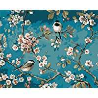 Paint by Numbers-DIY Digital Canvas Oil Painting Adults Kids Paint by Number Kits Home Decorations-Flower and Birds 16 * 20 inch