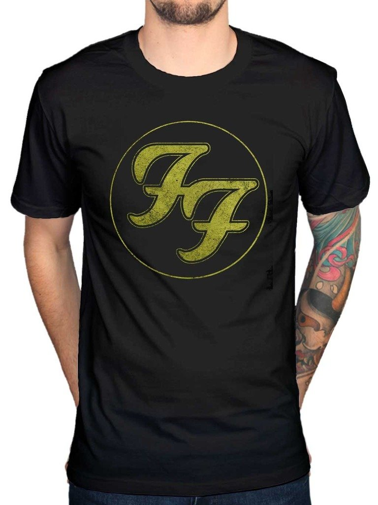 AWDIP Men's Official Foo Fighters Distressed T-Shirt Rock Band Seattle Alternative