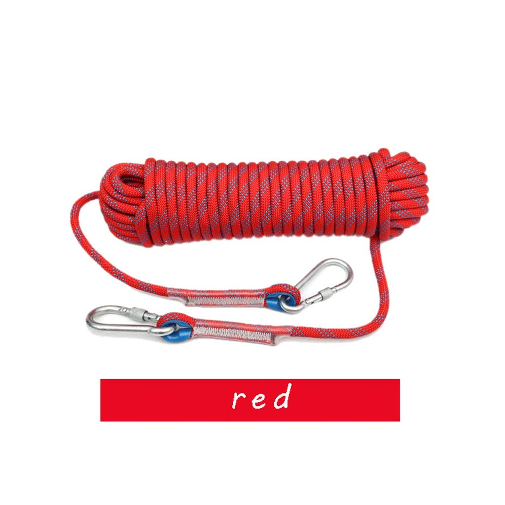 MLM clbrp Climbing Rope 14mm Diameter Professional Outdoor Rope high Strength Downhill Rope fire Escape Auxiliary Rope with 2 Carabiner red (Color : 14MM, Size : 30m) by MLM clbrp