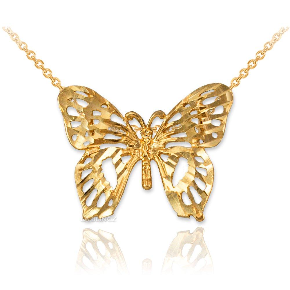 LA BLINGZ 10K Yellow Gold Butterfly Filigree DC Charm Necklace