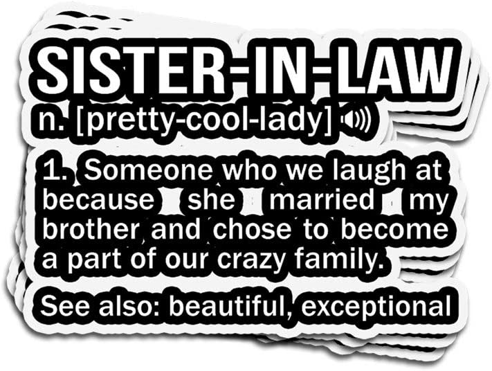 Amazon Com Viraltee 3 Pcs Stickers Sister In Law Meaning Noun Fun Sister Gag 4 3 Inch Die Cut Decals For Laptop Window Kitchen Dining
