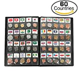 Classic Gifts 60 Countries Coins Collection Starter Kit Authentic Coins 100% Original Genuine World Coin with Leather Collecting Album Taged by Country Name And Flag