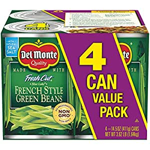 Del Monte Canned Fresh Cut Blue Lake French Style Green Beans, 14.5-Ounce Cans (Pack of 4)