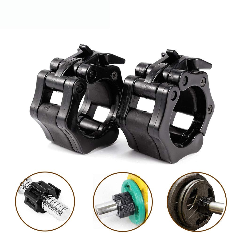 Weightlifting Barbell Clamp Collar-Olympic Barbell Collars-Quick Release 2 Pair of Locking 1Inch Olympic Bar - Great for Cross Fitness Training,Black