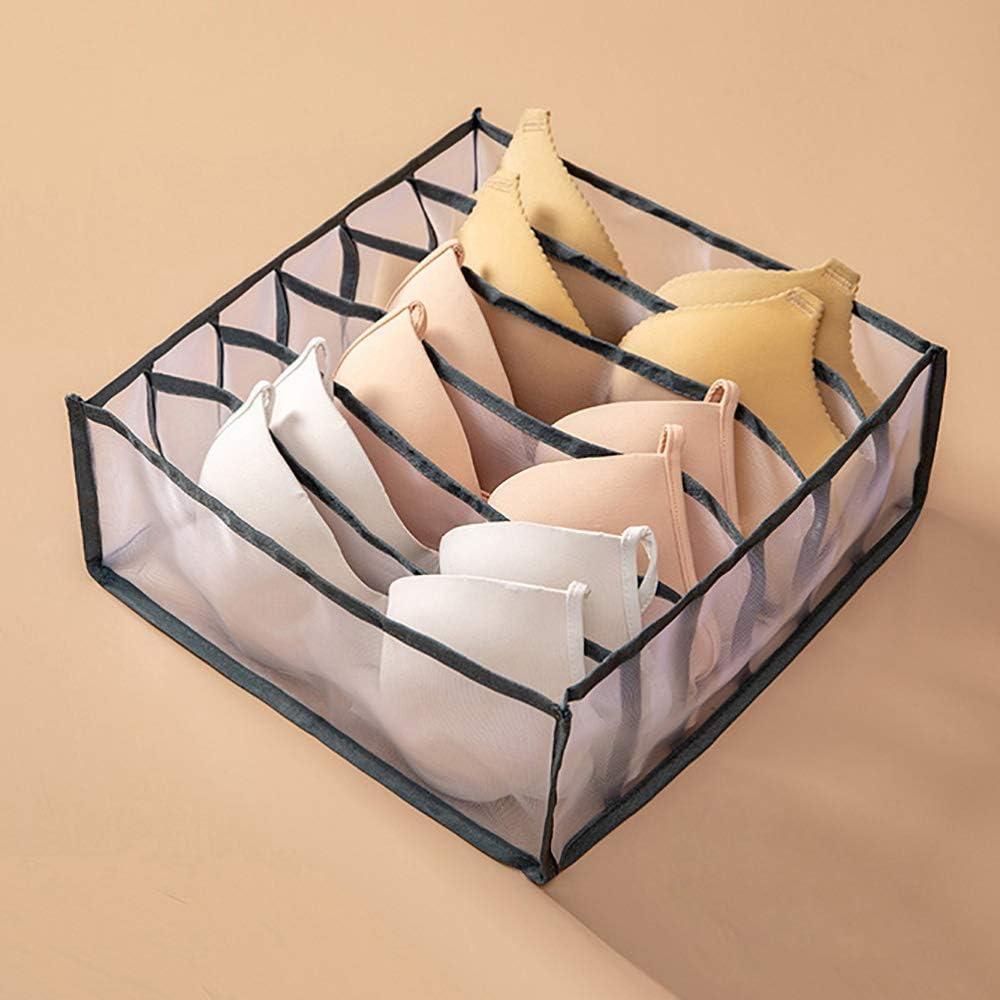 NOPNOG Home Drawer Storage Box, Wardrobe Closet Organizer, for Underwear Bra Socks Panties, Polyester (Grey,6 Cells)