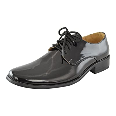 e76b4ded0415 Boys Dress Shoes Lace Up Retro Patent Leather Oxfords Black