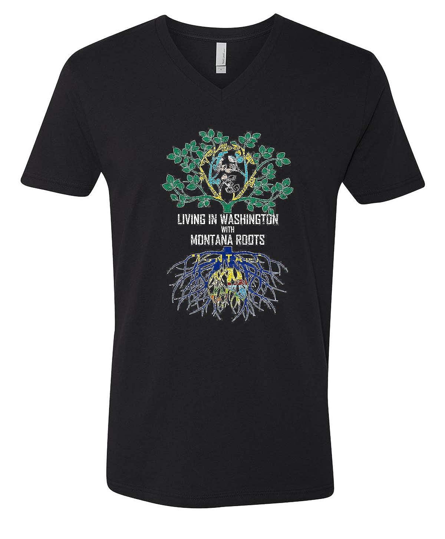 Tenacitee Mens Living in Washington Montana Roots T-Shirt