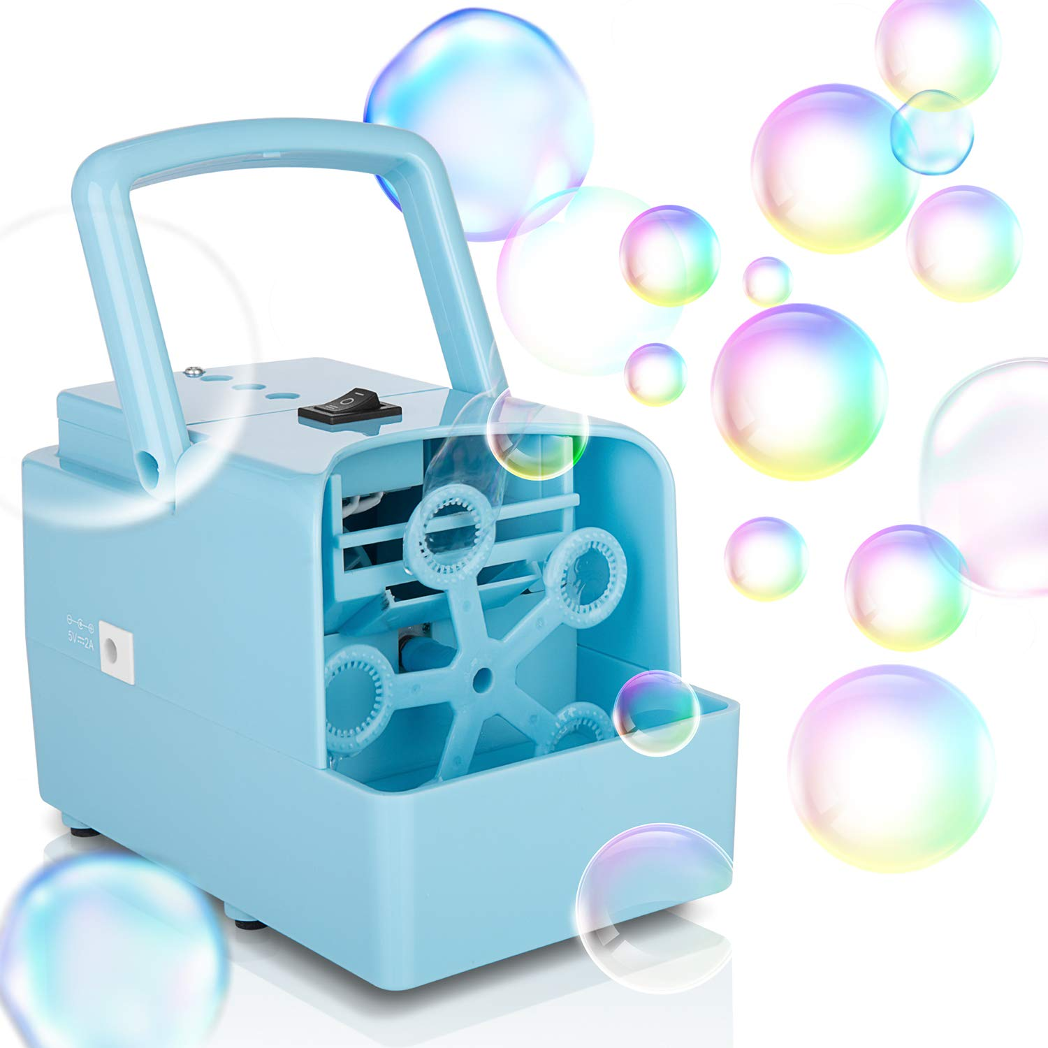 Bubble Machine, Portable Bubble Maker Toy for Kids, Automatic Bubble Blower 2000+ per Min, 2 Speed Levels for Party Wedding Indoor Outdoor Activities, Powered By DC Cable or 4xAA Battery(Not Included) by KIDWILL