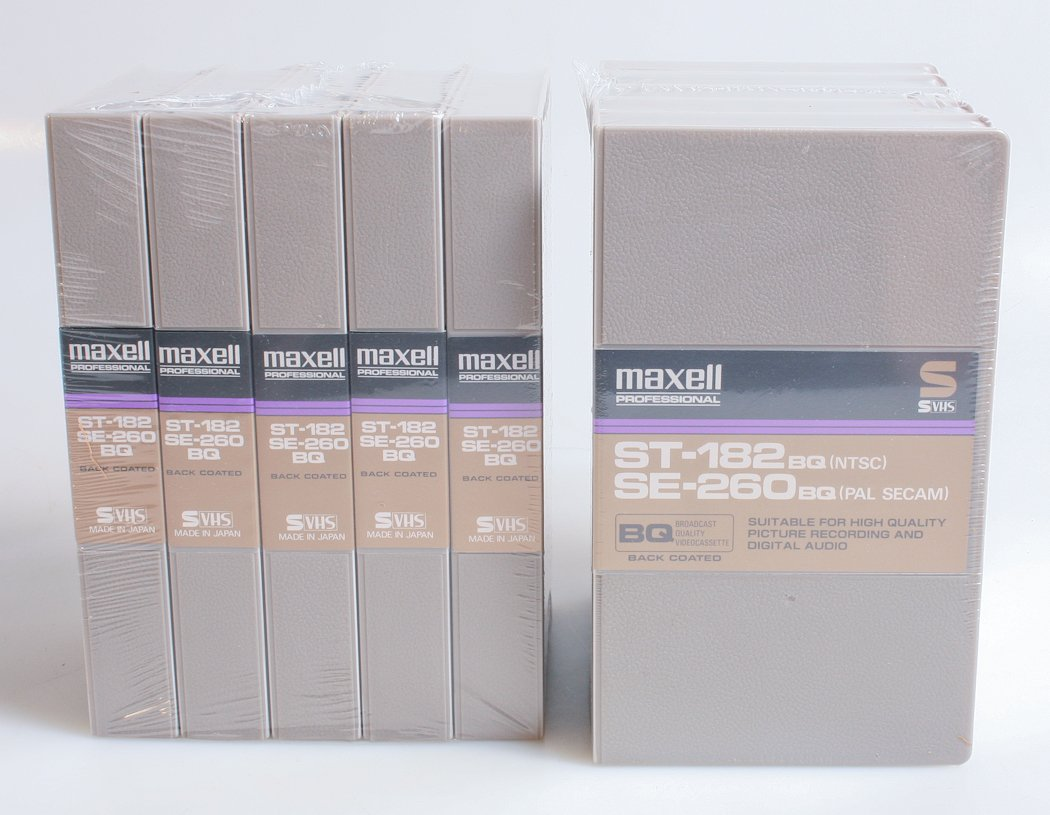 MAXELL S VHS 10 PACK VCR TAPES ST-182/SE-260BQ, NEW