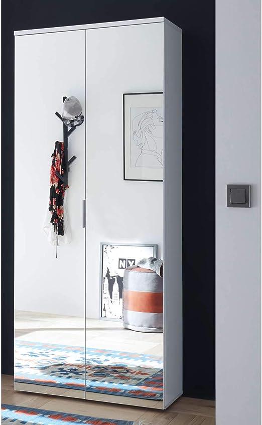 Avanti Trendstore Lindo - Zapatero de Madera Decorado en Color Blanco Brillo con 2 Puertas con Espejo y 11 estantes Interiores Tamaño: 80 x 190 x 35 cm.: Amazon.es: Juguetes y juegos