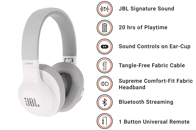 Auriculares Bluetooth supraaurales plegables con cable y control remoto universal azul bater/ía de hasta 20 h JBL E55BT