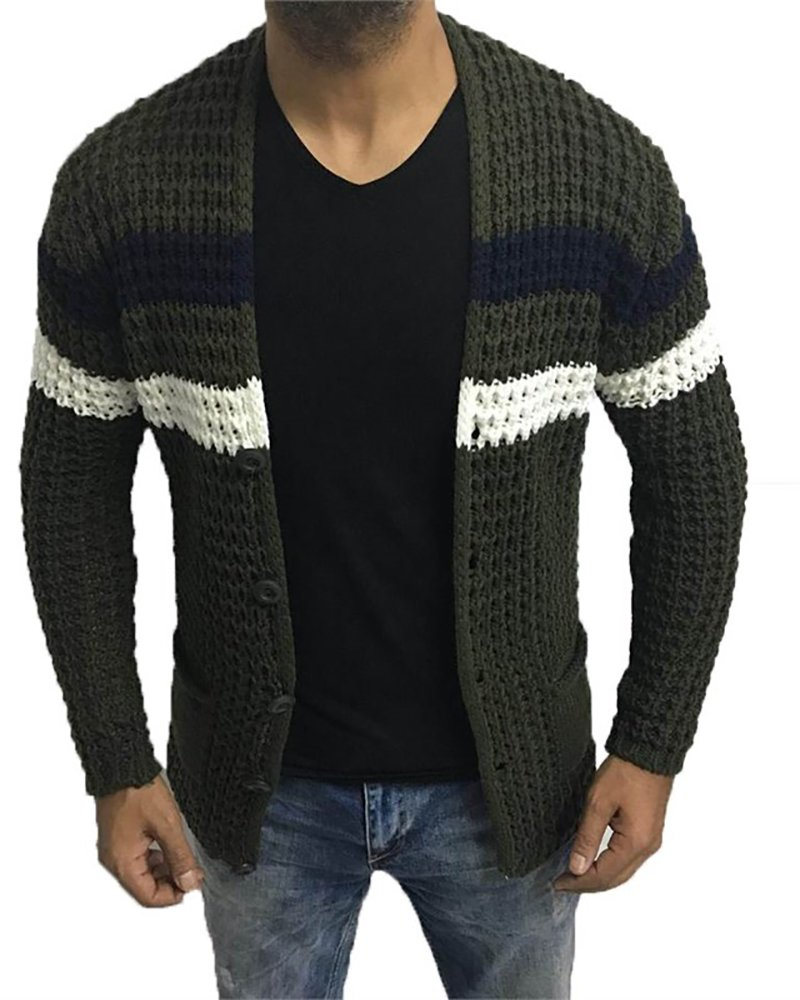 Enjoybuy Mens Cable Knit Cardigan Sweater Casual V Neck Button Closure Sweaters with Pockets