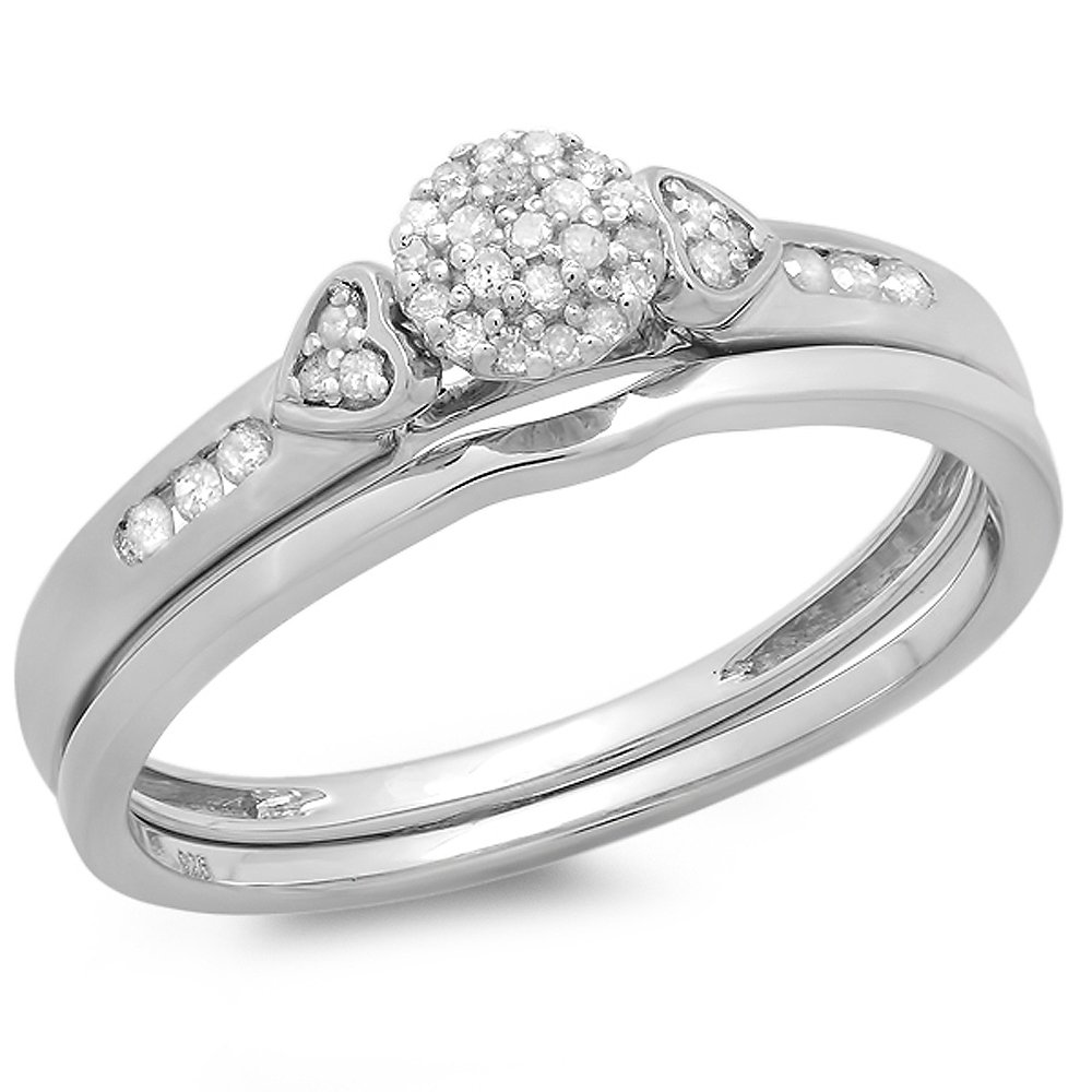 0.15 Carat (ctw) Sterling Silver Round Diamond Ladies Bridal Engagement Ring Matching Band Set (Size 9)