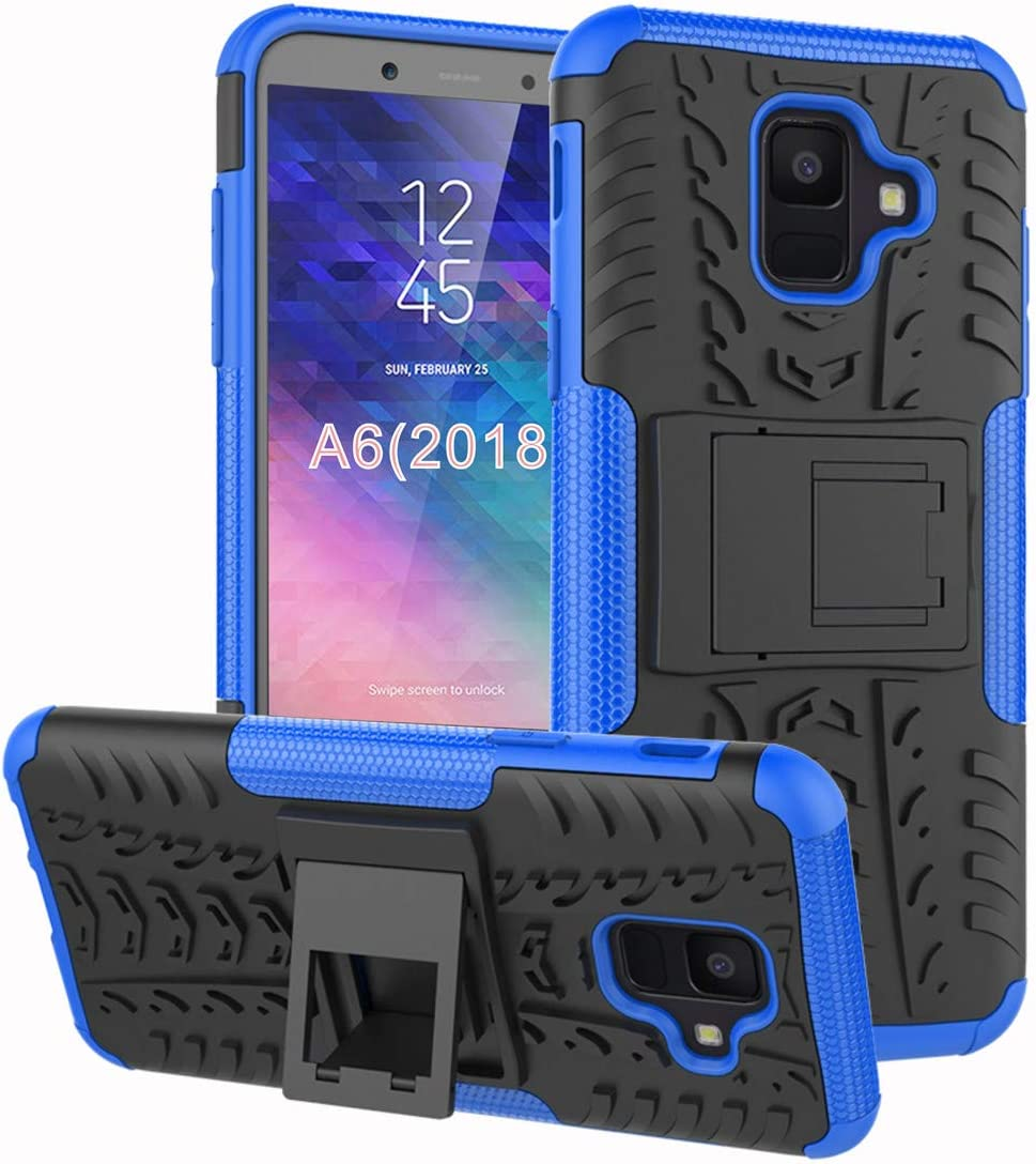 Samsung Galaxy A6 Case, Yiakeng Dual Layer Shockproof Wallet Slim Protective with Kickstand Hard Phone Case Cover for Samsung Galaxy A6 2018 (Blue)