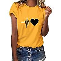 Tuopuda Camiseta de Mangas Cortas Mujer Corazón Impresión tee Clásico con Cuello en Redondo Basica Camiseta Ligera de…