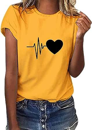 Tuopuda Camiseta de Mangas Cortas Mujer Corazón Impresión tee Clásico con Cuello en Redondo Basica Camiseta Ligera de Algodón Ablandado Verano Casual ...