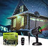 MicTuning Christmas Lights Projector Waterproof Red & Green Motion Star Night Shower Spotlight Landscape Lighting with RF Remote for Xmas, Holiday, Party Garden Decoration