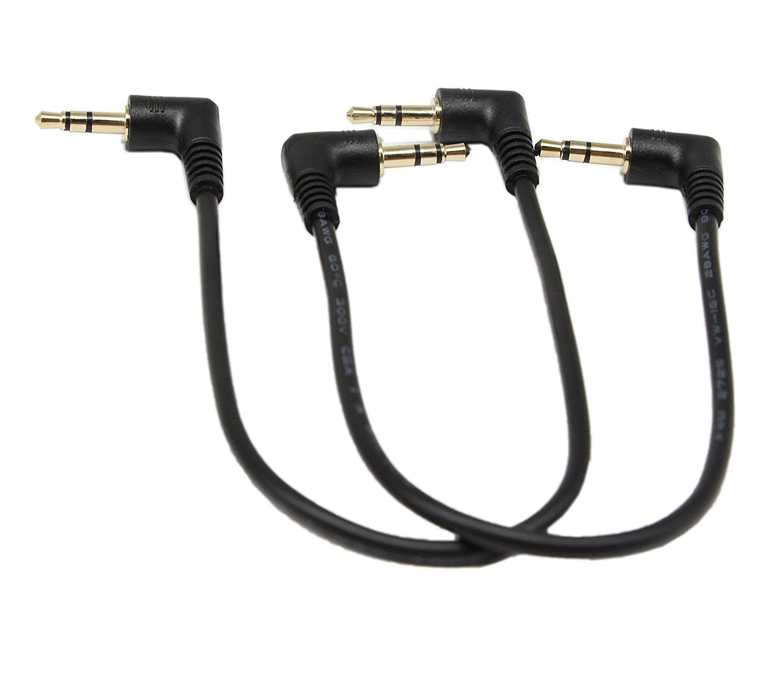 3.5mm Stereo Audio Cable,SinLoon (2-Pack) Gold Plated 90 Degree Right & Left Angled 3.5mm Male to Male Stereo Audio Cable for iPhone, iPad or Smartphones, Tablets, Media Players(3-P,9inch)