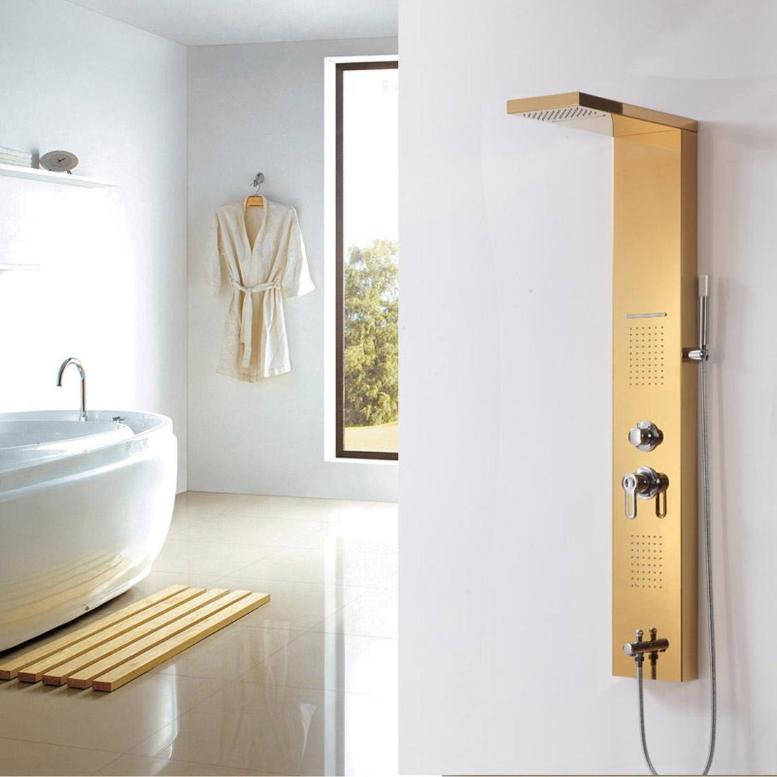 HYY@ Bathroom Rainfall Stainless Steel Shower Panel Rain Massage Faucet with Jets & Hand Shower Wall Mount Golden Finish hot sale 2017