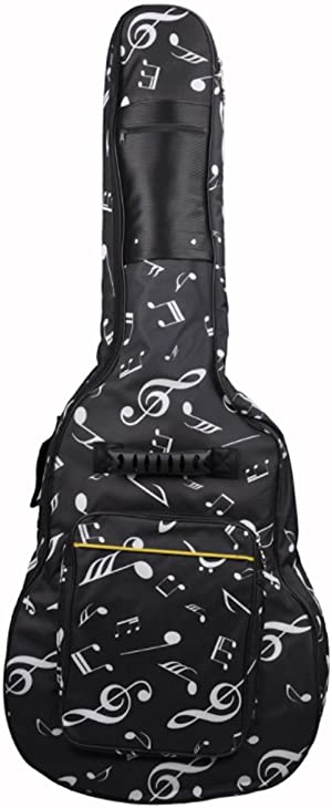 41 42 Inch Dual Adjustable Shoulder Strap Acoustic Guitar Gig Bag Waterproof Guitar Case Soft Guitar Backpack Case with Pockets Organizer - Black