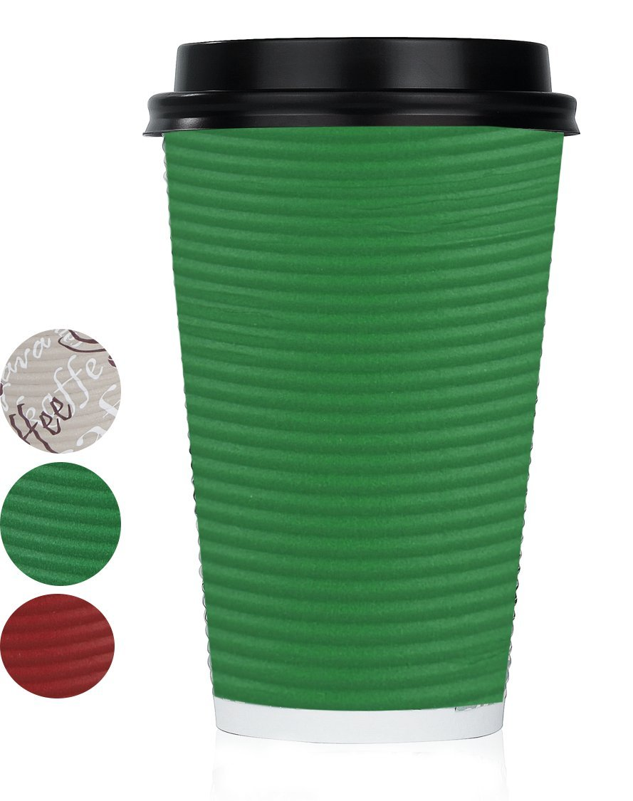 Disposable Hot Coffee Insulated Cups By Golden Spoon – 50 Pack Set Complete With Lids – Stylish Contemporary Ripple Design - Perfect For Take Away Coffee Shops And Bars (16 oz, Green)