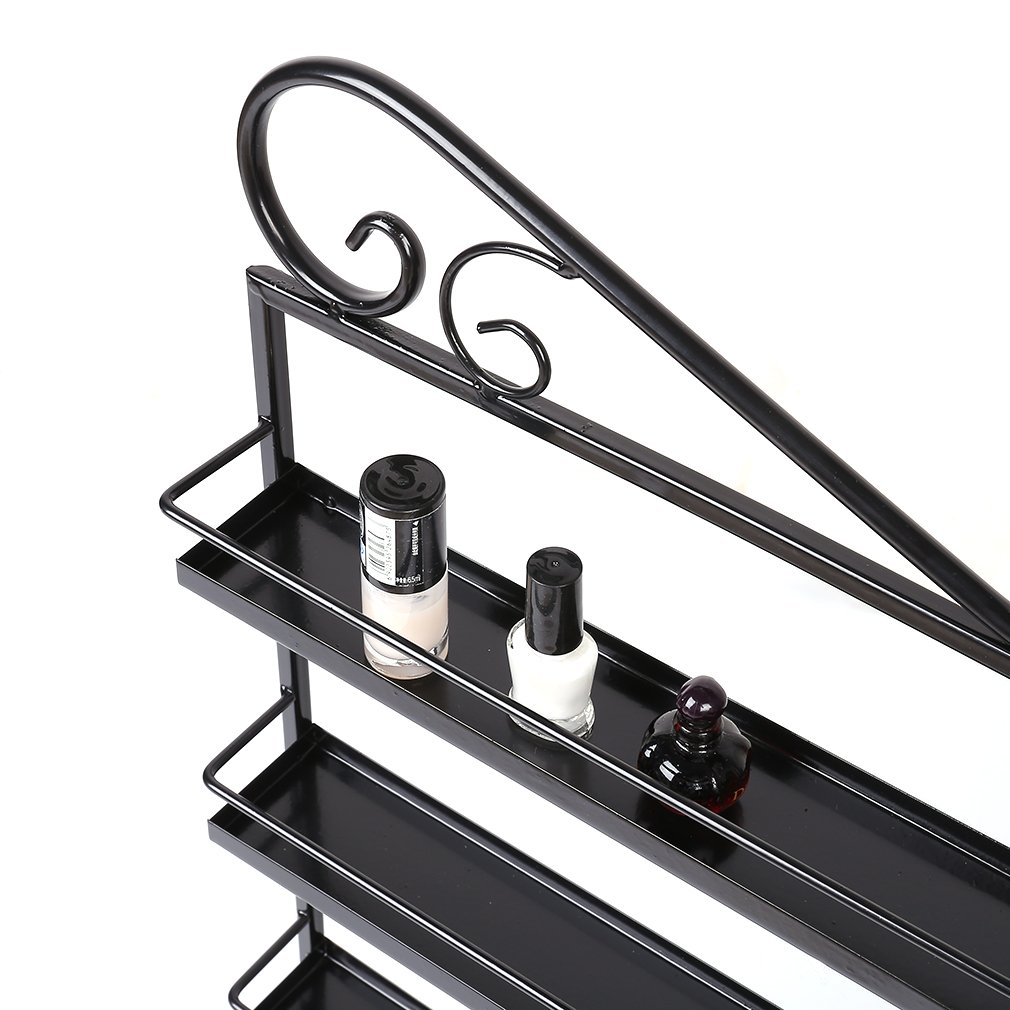 Nail Polish Wall Rack Organizer, 5 Layers Durable Oil Bottle Storage Holds 180 Bottles Nail Polish Shelf 3 in 1 (Black)