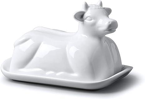 Butterdose Kuhform aus Porzellan Butterschale Butterglocke Kuh weiss